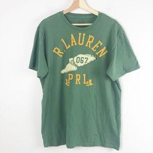 Ralph Lauren Mens T-shirt Tees Green Graphic Large